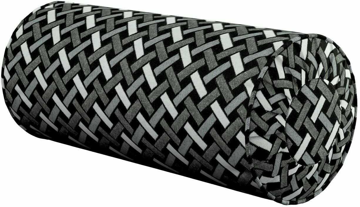 Poduszka wałek z zakładkami, czarno-biały, Ø20  50 cm, Black & White