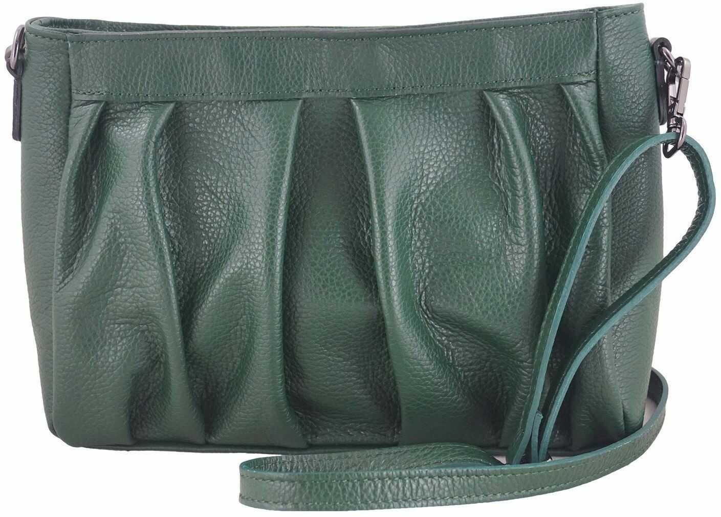 Modna marszczona torebka damska - Zielona ciemna
