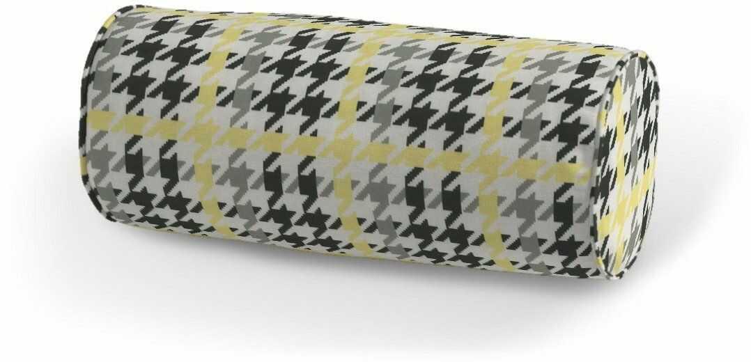Poduszka wałek prosty, żółto-czarna pepitka, Ø16  40 cm, do -50%