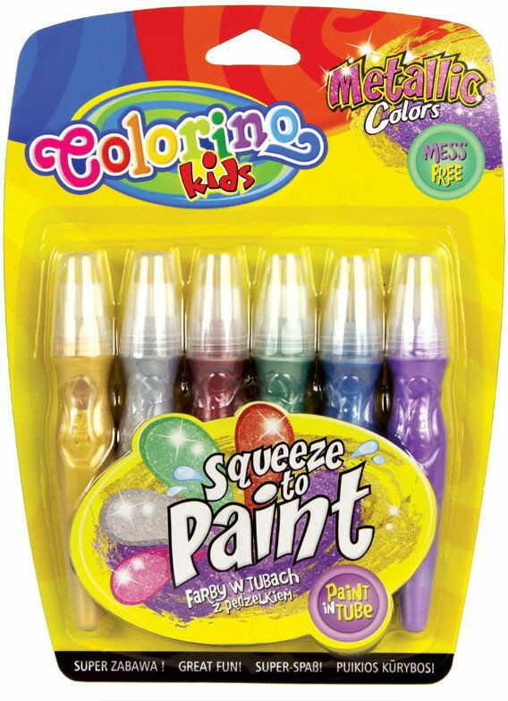 Colorino - Farby w tubach z pędzelkami 6 kolorów metalicznych 34173