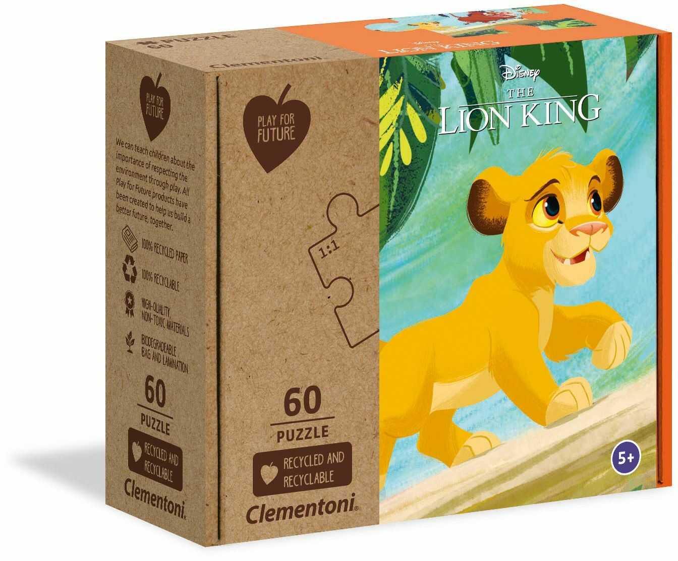 Clementoni 27002 Disney The Lion King-60 sztuk - wyprodukowano we Włoszech - 100% materiały z recyklingu, puzzle dla dzieci