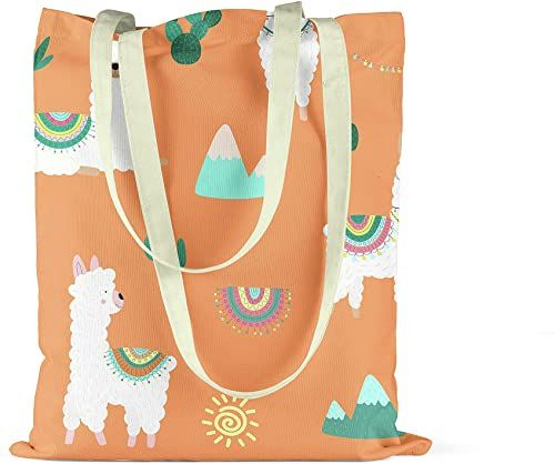 Bonamaison Torba na zakupy z nadrukiem, torba, składana, torba z materiału z dwoma długimi uchwytami, rozmiar: 34 x 40 cm