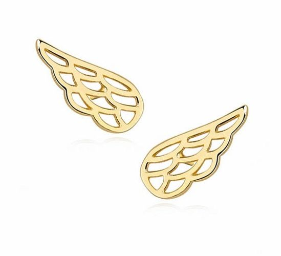 Delikatne pozłacane srebrne gładkie kolczyki celebrytka skrzydła skrzydełka srebro 925 Z1369E_G
