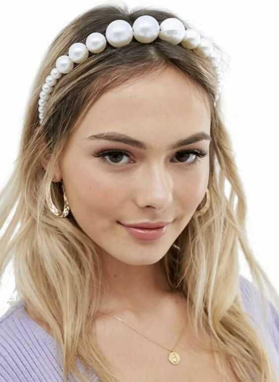 Opaska do włosów ozdoba ślubna duże perły biała