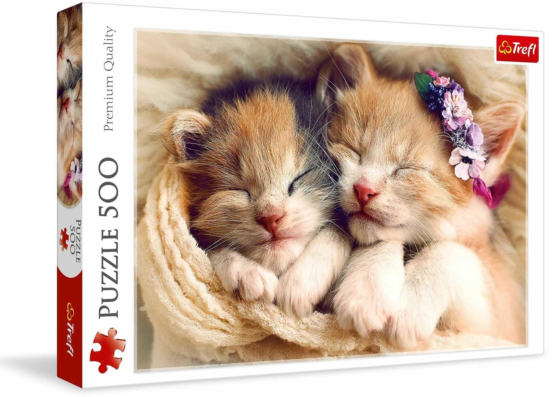 Trefl Śpiące Kotki Puzzle 500 Elementów o Wysokiej Jakości Nadruku dla Dorosłych i Dzieci od 10 lat