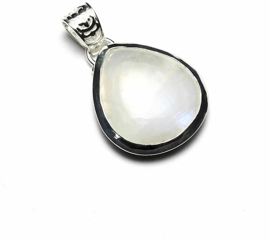 Kuźnia Srebra - Zawieszka srebrna, 36mm, Kamień Księżycowy, 9g, model