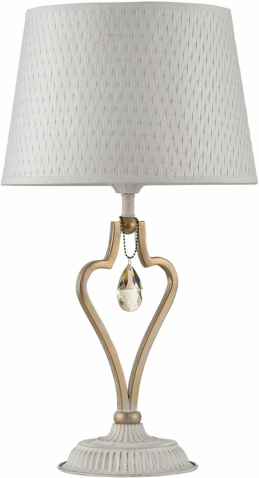 Maytoni Enna ARM548-11-WG lampa stołowa rama metalowa biała ze złotym kryształowe wisiorki wzorzysty biały klosz 1xE27 40W 27 cm