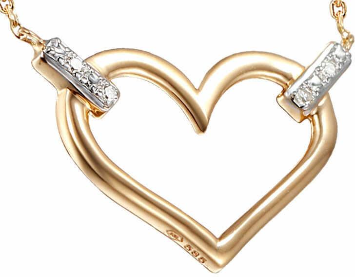 Złoty naszyjnik 585 serce z diamentami brylanty
