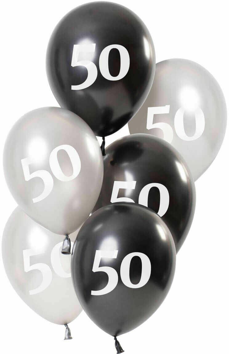 Zestaw balonów na pięćdziesiąte urodziny Glossy czarny - 23 cm - 6 szt.