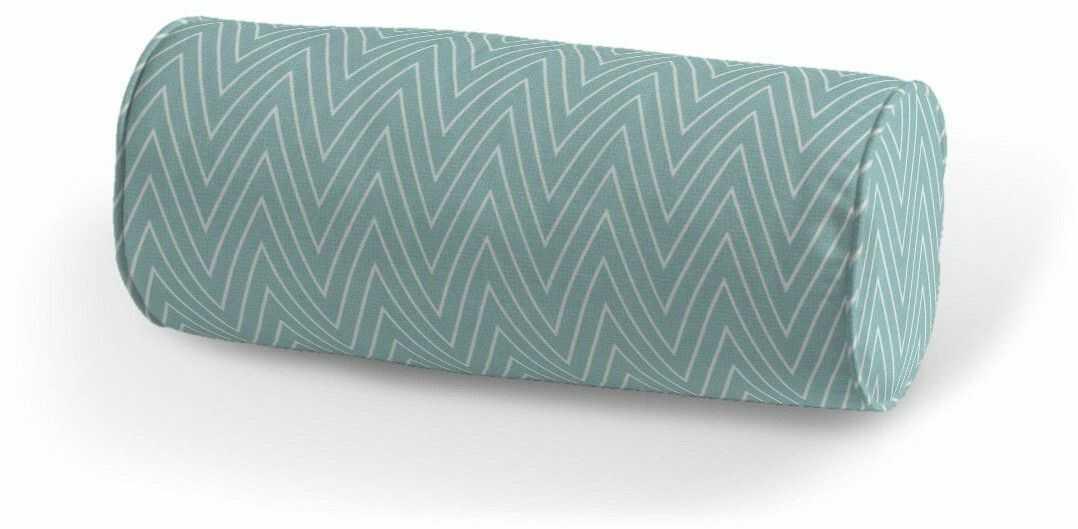 Poduszka wałek prosty, białe zygzaki na miętowym tle, Ø16  40 cm, Comics