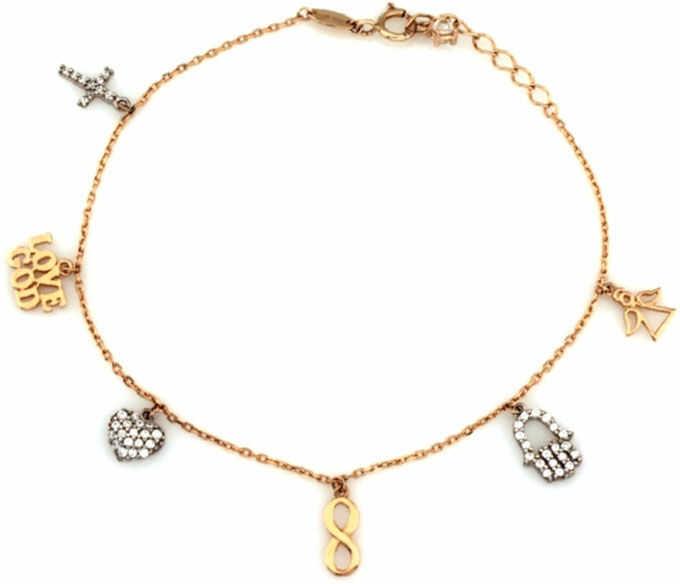Złota bransoletka 333 z charmsami krzyż Fatima