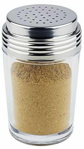 APS multi shaker / shaker do przypraw, przezroczysty shaker z pokrywką ze stali nierdzewnej, 6,5 x 6,5 cm, 12 cm wysokości