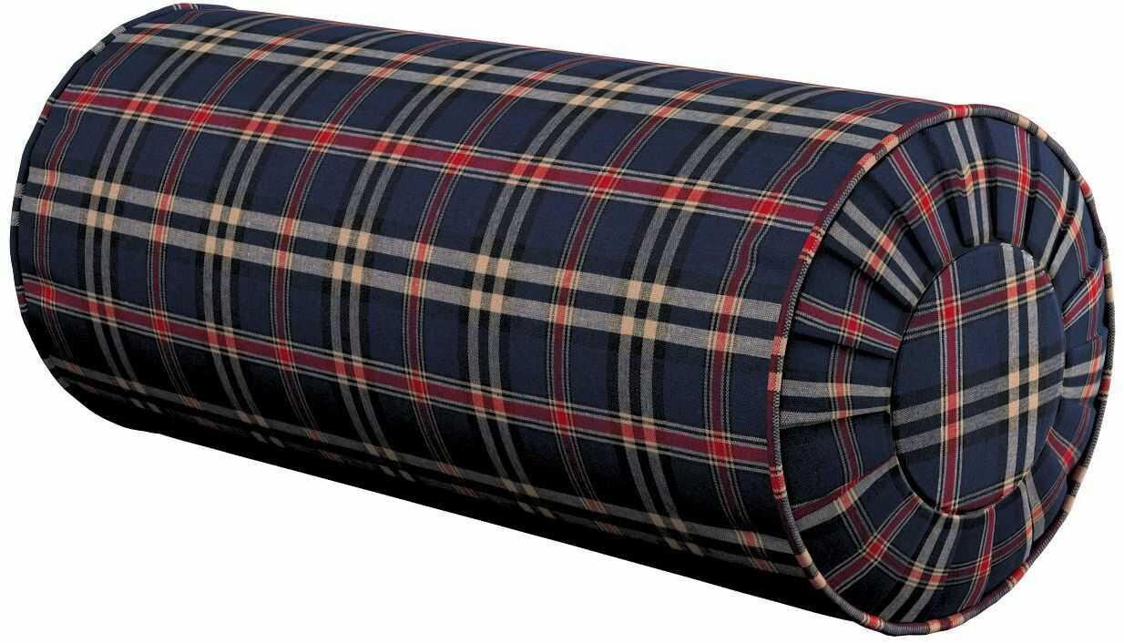 Poduszka wałek z zakładkami, granatowo - czerwona kratka, Ø20  50 cm, Bristol