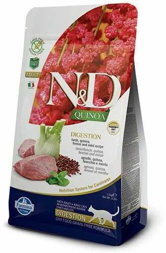 Farmina N&D Quinoa Digestion Lamb & Fennel Adult Cat - lekkostrawna, bezzbożowa karma z komosą i jagnięciną dla dorosłych kotów