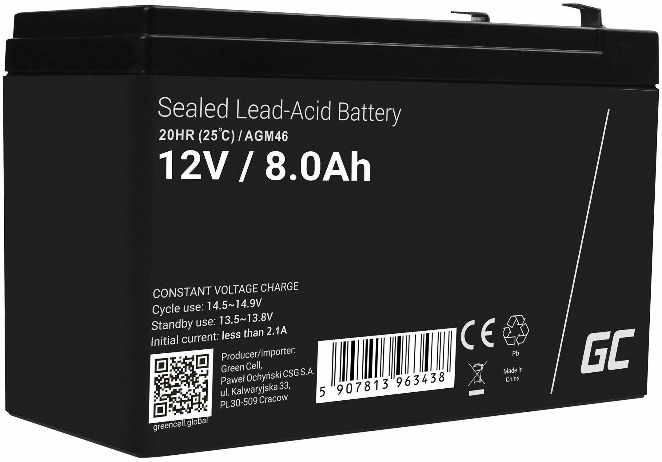 Green Cell AGM VRLA 12V 8Ah bezobsługowy akumulator do systemu alarmowego kasy fiskalnej zabawki