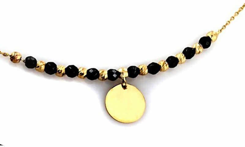 Złoty naszyjnik 585 celebrytka z kółeczkiem hematyt