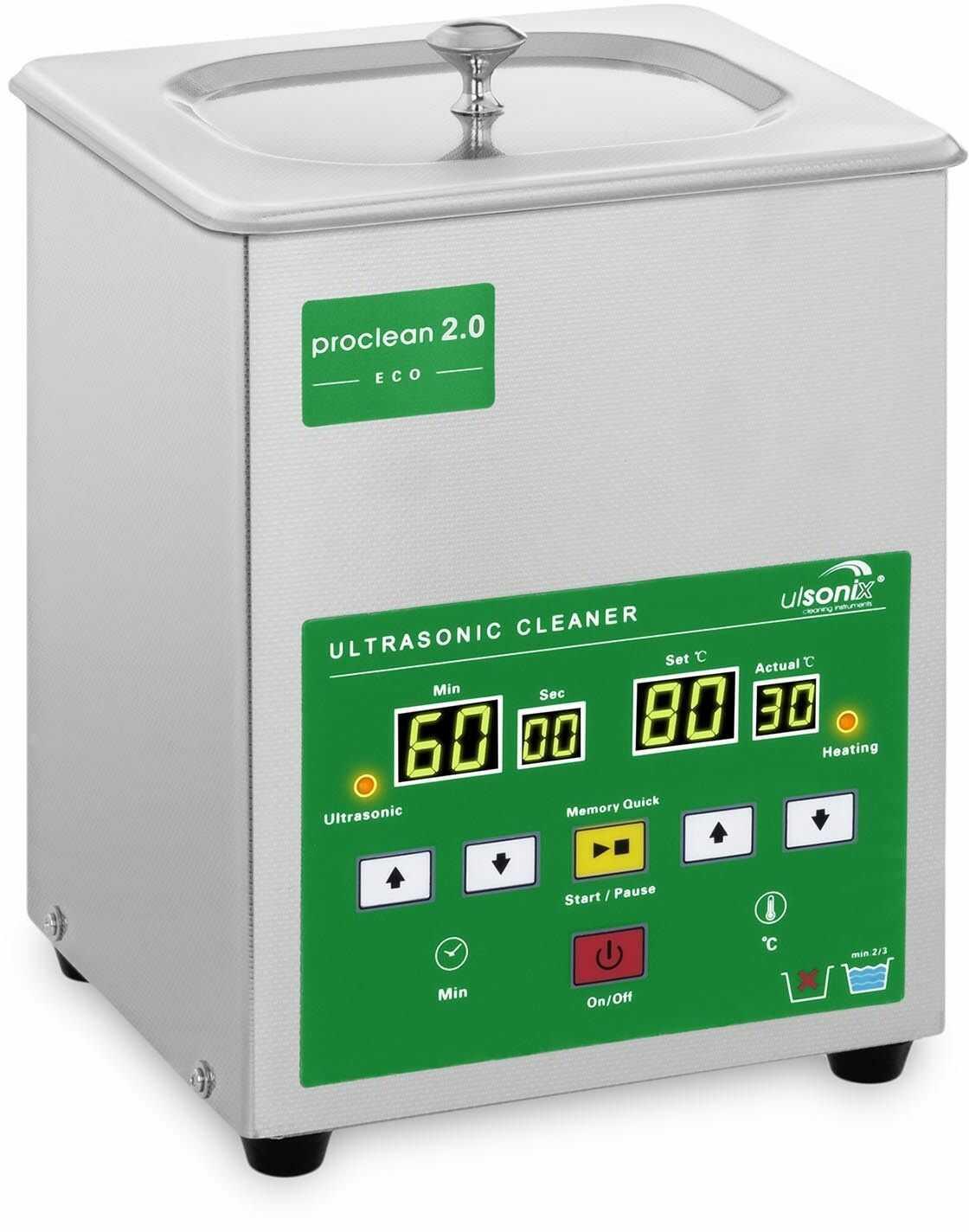 Myjka ultradźwiękowa - 2 litry - 60 W - Memory Quick Eco - ulsonix - PROCLEAN 2.0 ECO - 3 lata gwarancji/wysyłka w 24h