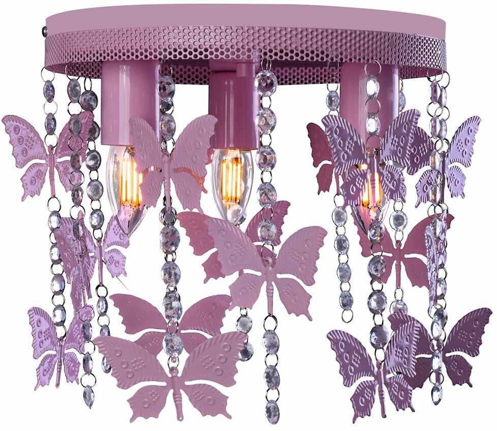 Milagro ANGELICA MLP1165 plafon lampa sufitowa metal różowy kryształki motyle 3xE27 30cm
