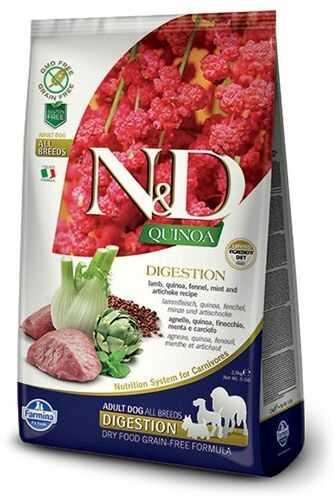 Farmina N&D Quinoa Digestion Lamb & Fennel Adult Dog lekkostrawna, bezzbożowa karma z komosą i jagnięciną dla dorosłych psów