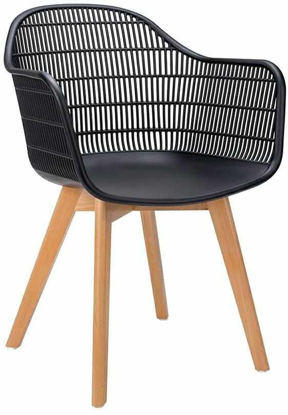 Krzesło ażurowe patyczak z oparciem Cesta - czerń i jesion
