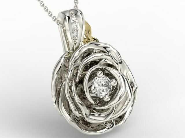 Wisiorek z białego i żółtego złota w kształcie róży z diamentami apw-95bz