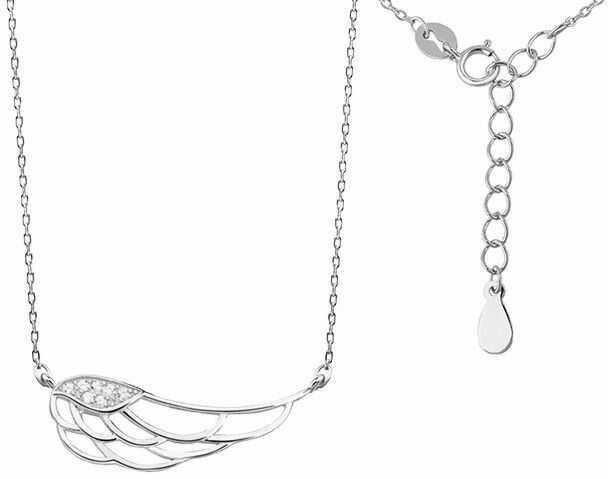Rodowany srebrny naszyjnik gwiazd celebrytka skrzydło anioła wings cyrkonie srebro 925 Z1438N