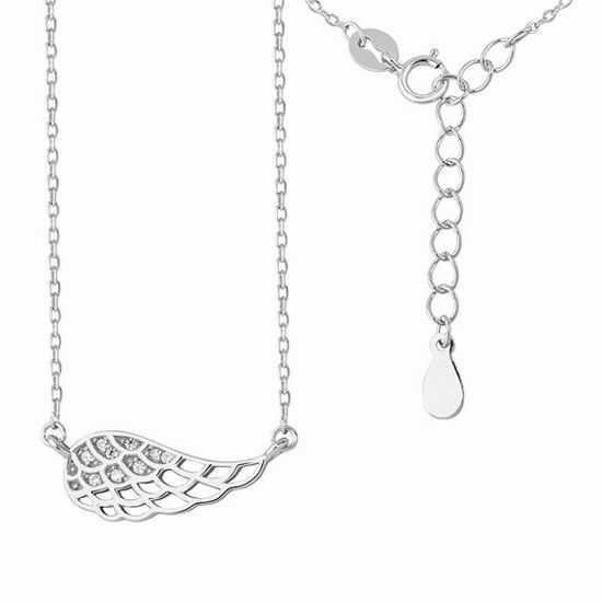 Rodowany srebrny naszyjnik gwiazd celebrytka skrzydło anioła wings cyrkonie srebro 925 Z1450N
