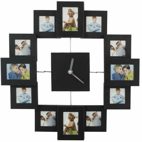 Duży (36x36cm) Stylowy Zegar Ścienny z Ramkami na 12 Zdjęć.