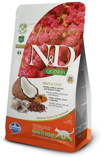 Farmina N&D Quinoa Skin & Coat Herring Adult Cat - karma z komosą i śledziem dla dorosłych kotów