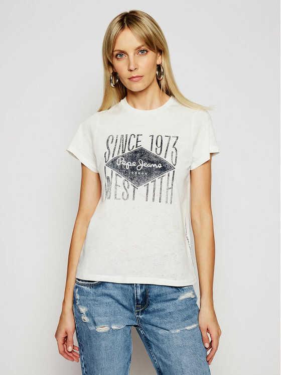 Pepe Jeans T-Shirt Alex PL504796 Biały Regular Fit