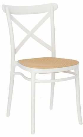 Białe krzesło z siedziskiem z plecionki wiedeńskiej Moreno