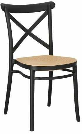 Czarne krzesło z siedziskiem z plecionki wiedeńskiej Moreno
