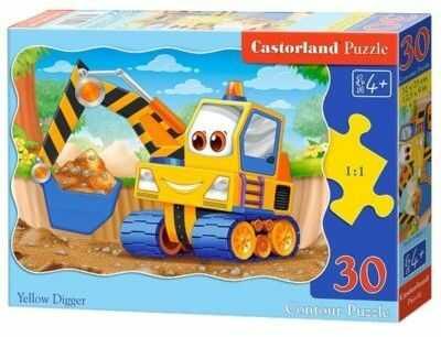 Puzzle Castor 30 - Żółta koparka, Yellow Digger