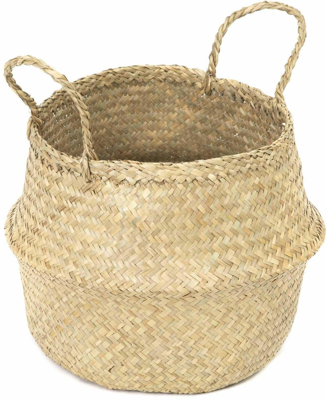 COMPACTOR RAN8406 kosz do przechowywania z ręcznie plecionej trawy morskiej, składany, z uchwytami, jasne drewno, średnica: Ø 35 x 32 cm