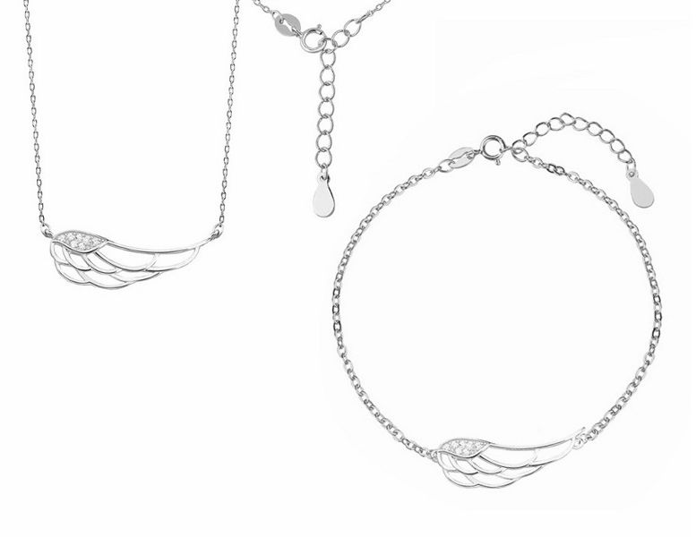 Elegancki rodowany srebrny komplet celebrytka skrzydła anioła wings cyrkonie srebro 925 Z1438Z