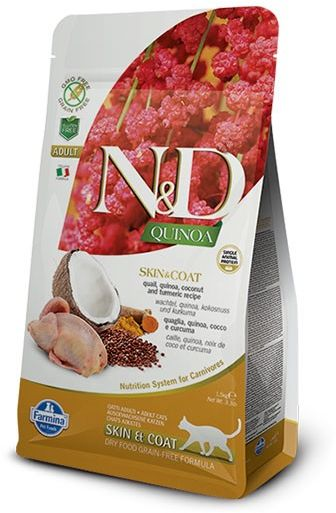Farmina N&D Quinoa Skin & Coat Quail Adult Cat - karma z komosą i przepiórką dla dorosłych kotów