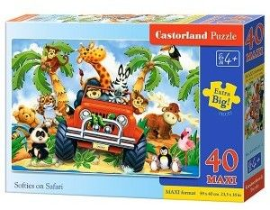 Puzzle Castor 40 MAX - Softies na safari, Softies on Safari