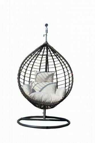 Fotel ogrodowy kokon szary z poduszką ecru