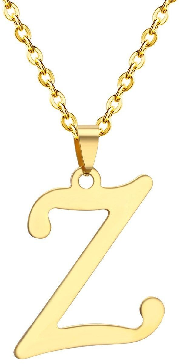 Naszyjnik litera z stal szlachetna złoty