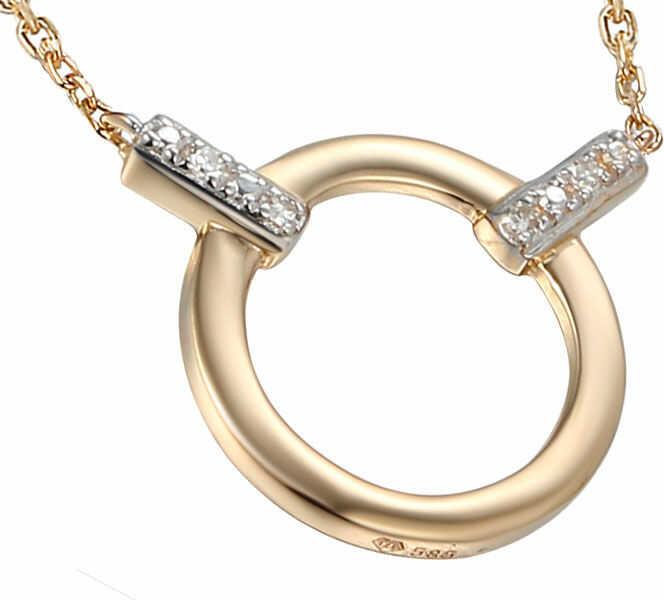Złoty naszyjnik 585 ring z diamentami brylanty