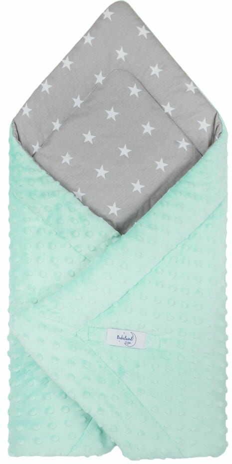 Rożek niemowlęcy minky szare gwiazdy