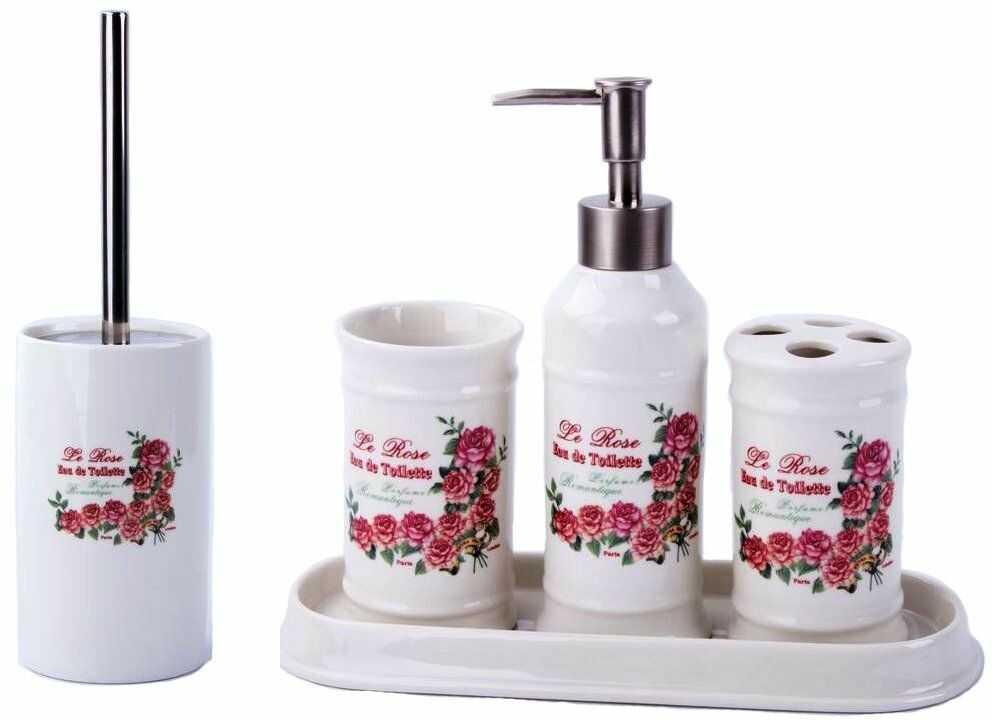 GMMH Landhaus Vintage zestaw łazienkowy róże akcesoria łazienkowe zestaw dozownik mydła WC szczotka ceramiczna
