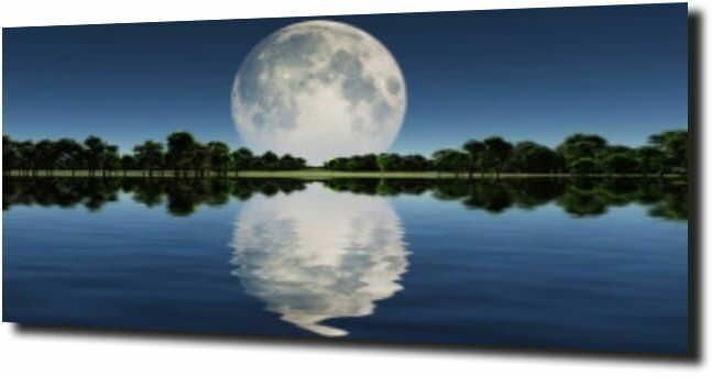obraz na szkle Księżyc w pełni nad jeziorem