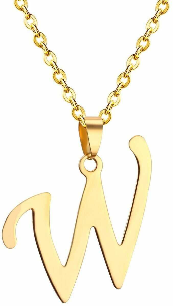 Naszyjnik litera w stal szlachetna złoty