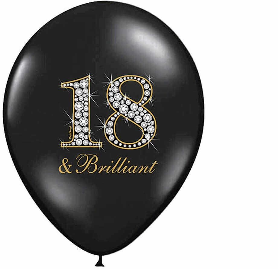 """Balony z nadrukiem na osiemnastkę """"18 & brilliant"""" - 30 cm - 6 szt."""