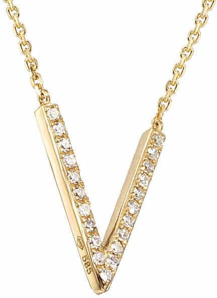 Złoty naszyjnik 585 dwa ringi z diamentami brylanty