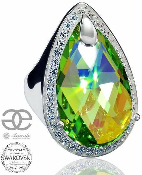 Kryształy SPECIAL PIERŚCIONEK PERIDOT ENCANTE SREBRO