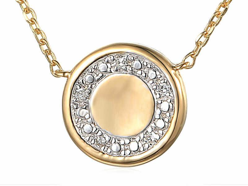 Złoty naszyjnik 585 kółeczko z diamentami na łańcuszku