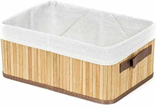Compactor Prostokątny składany bambusowy kosz na pranie, naturalny, 35 x 25 x 15 cm