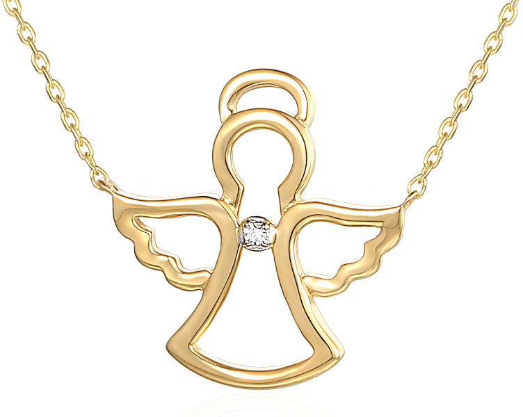 Złoty naszyjnik 585 aniołek z brylantem diamentem